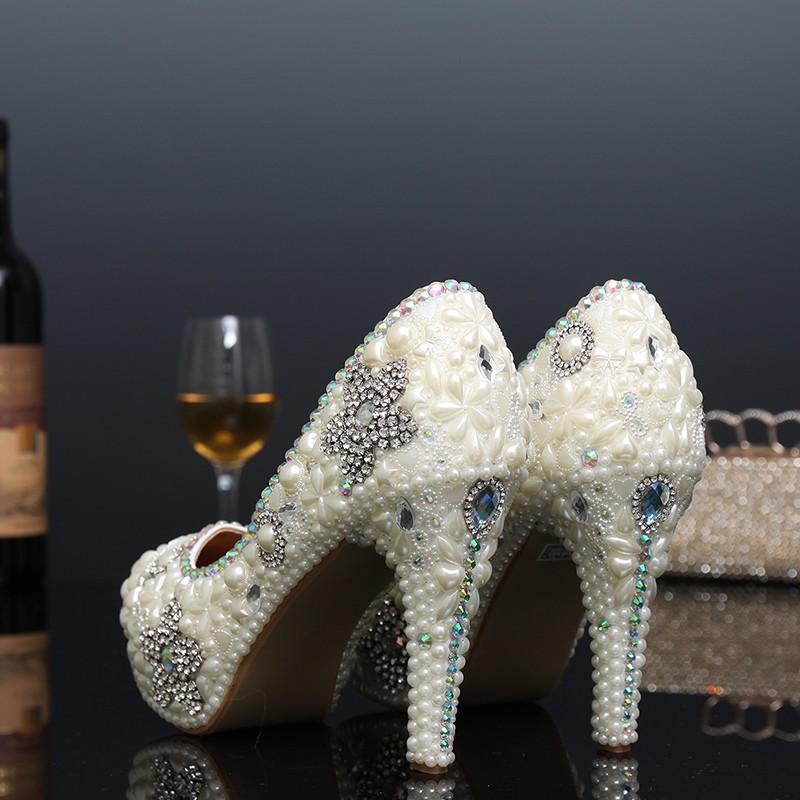 Sexy High Heels Formal Shoes Handmade Shoes Woman Thin Heel Party Rhinestone Pumps Platform Pumps Crystal Pearl Bridal Shoes