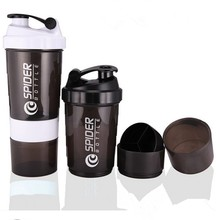 Sports Whey Protein Shaker Blender Mixer Cup Sports Fitness Gym 3 Layers Multifunction 500ML Bpa Free Shaker Bottle V1479(China (Mainland))