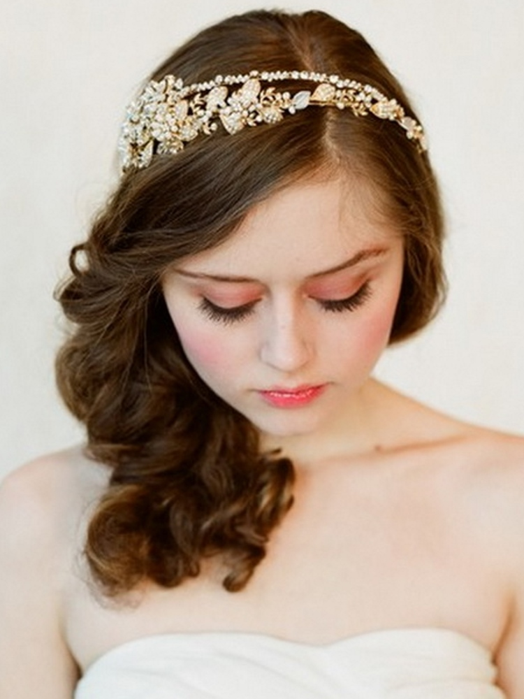 Luxury Handmade Golden Crystal Pearl Bridal Headband Headpiece Rhinestone Wedding Hair Accessories Ornament For Bride WIGO0239(China (Mainland))