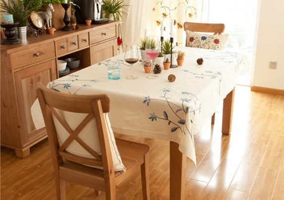 Free Shipping 160*110cm Blue Jacquard Cotton Linen Tablecloth Round Embroidery Table Cloth County Style For Decoration(China (Mainland))