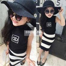 2016 Fashion Summer Children Girls Skirts sets 2Pcs Black T-shirt+stripe pettiskirt sets Girls Casual Comfort sets 2-7 Years(China (Mainland))