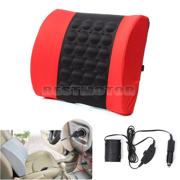 Red Multifunctional Electrical Car Massage Lumbar Support Cushion Vehicle Back Seat Relaxation Waist Support Pillow(China (Mainland))