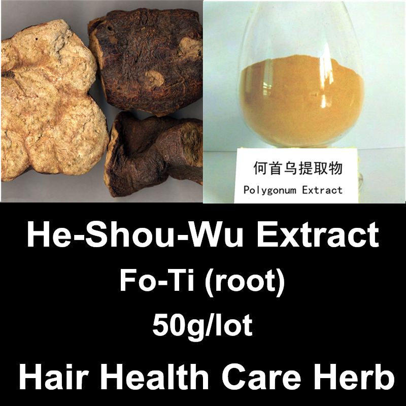 Pure Fo-Ti Root Extract Powder Chinese Natural Hair Health Care Herbal He Shou Wu Supplements Polygonum Multiflorum(China (Mainland))