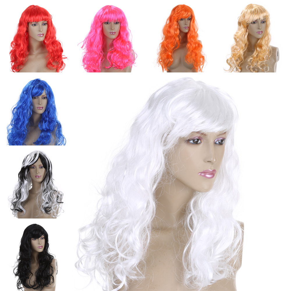 FESTNIGHT 7 Color Women's Wig Fashion Long Curly Hair Full Wig Halloween Masquerade Cosplay Stage Show Costume Party Decoration(China (Mainland))