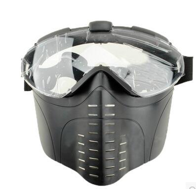 chenhao classical black army green khaki electric fan full face paintball mask(China (Mainland))