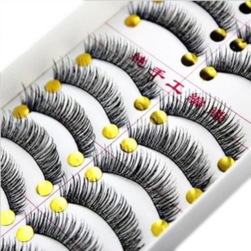 10 Pairs Cotton Eyelash Extension Stalk Long Thick False Eyelashes Makeup Black Fake Eye Lashes - Newest Fashion Clothing store