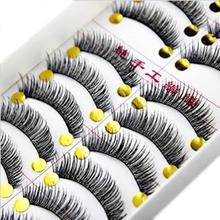 10 Pairs Cotton Eyelash Extension Stalk Long Thick False Eyelashes Makeup Black Fake Eye Lashes Makeup