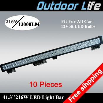 10 pieces new model 216w 40'' length 13000 lumen led turck off road 4wd light bar 10% discount white light 12 volt light led