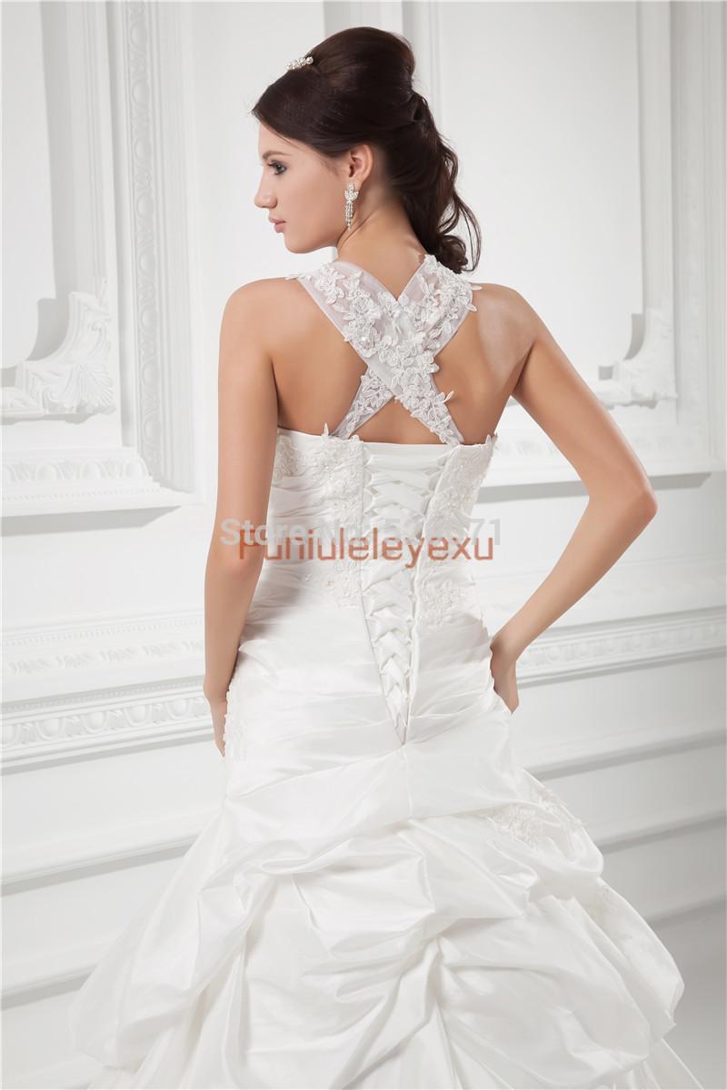 Elegant A Line Strapless Spaghetti Straps White Ivory Satin Flower Wedding Dresses Dreaming Designer Bridal Gowns(China (Mainland))