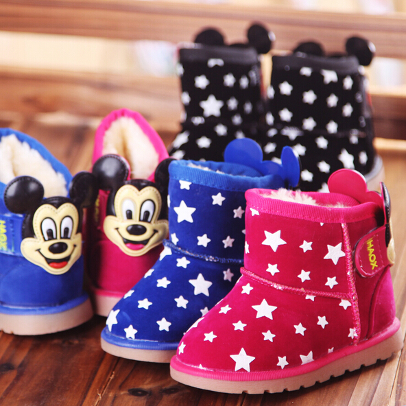Boys And Girls Cartoon Mickey Snowboots New 2015 Winter Girls Warm Thickening Snow Boots Kids Fur Inside Shoes Free shipping(China (Mainland))