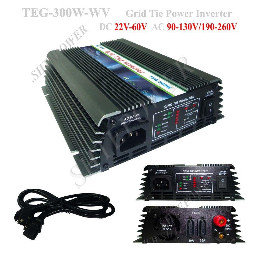 High Efficiency, 300W DC22V~60V Grid Tie Inverter 300W Micro Grid Tie Solar Inverter, Pure Sine Wave Inverter(China (Mainland))