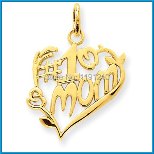 new fashion design gold plated # 1 mom peach heart metal charms(China (Mainland))