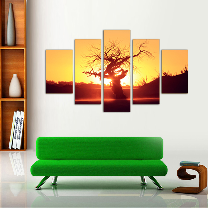 5 Panel Old tree Print Painting for Living Room Wall Art Picture Gift Home Decoration FIV0049(China (Mainland))