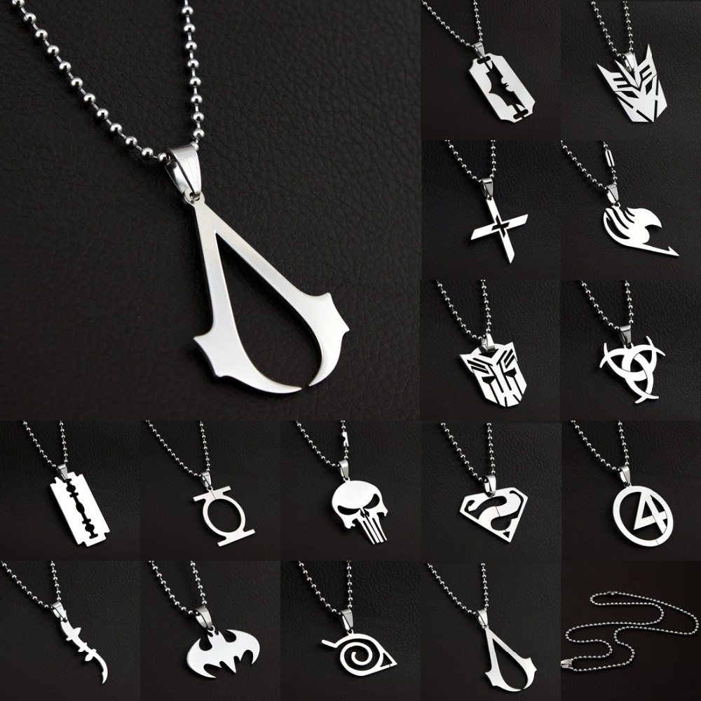 Anime Super Heroes Charming Stainless Titanium Steel Silver Pendant Necklace(China (Mainland))