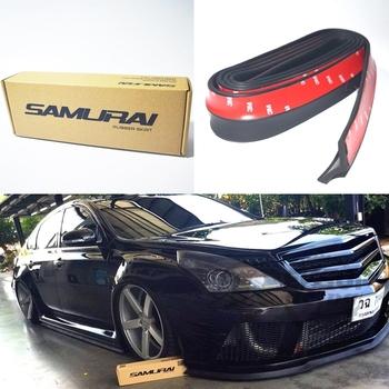 New!! Universal 2.5meters Black SAMURAI Front Bumper Lip Spoiler Rubber Skirt Protector Under Skirt Body Kits For Car