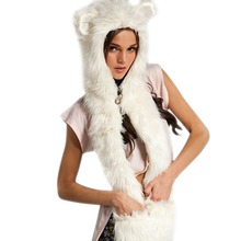 New Arrival Fahsion Warm Animal Fur Hat Scarf Fluffy Plush Cap Ear Hood Shawl Glove Unisex 1STL(China (Mainland))