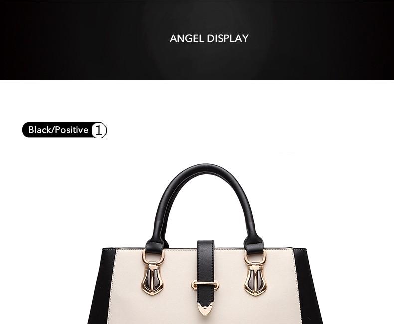 Black&White Contrast Color Ladies Elegant Hand Bag Women 2016 New Korean Style Patchwork Designer Large Shoulder Bag PU Leather