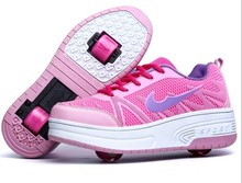 New 2015 Children Heelys Fashion With Wheel Shoes Invisible Button Roller Skates Kids Breathable Sports Casual Sneakers  (China (Mainland))