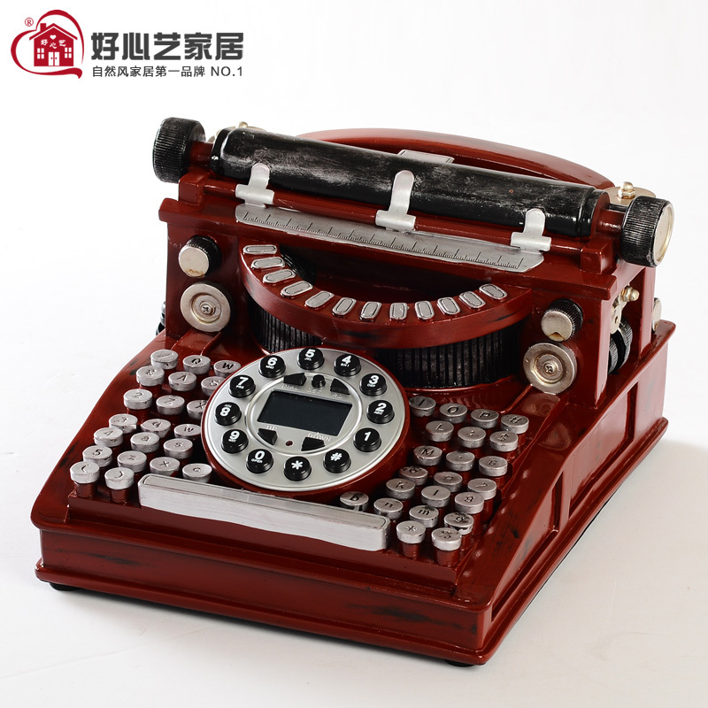 Hoshine Novelty Typewriter Button Cord Vintage Telephone Home Table Craft Red Antique Phone House Answering Machine ID Callered(China (Mainland))