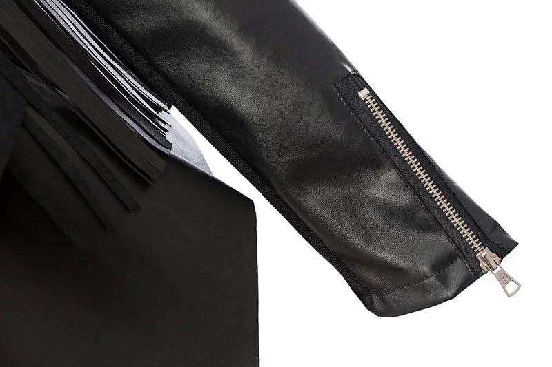 Xd07 женщины элегантный черный бахрома кисточка полиуретан искусственная кожа куртка пальто винтажный пиджаки свободного покроя бренд jaqueta feminina casacos