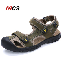Good Quality Daily Life Men's Sandal Walking Summer Cool Slippers Soft Comfortable Genuine Leather Beach Shoes Large Size 11 CCS(China (Mainland))