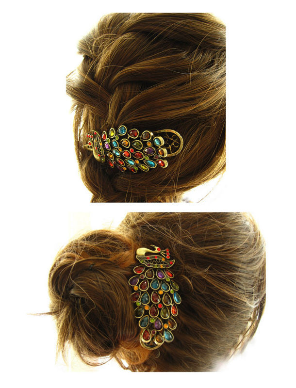 Vintage Girls Women Crystal Rhinestone Peacock Hair Barrette Clip Hairpin 1pcs(China (Mainland))