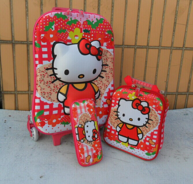 Hello Kitty luggage sets 3D EVA three-piece ( Trolley School Bags +Lunch Box +pencil Case) Cartoon children school bags