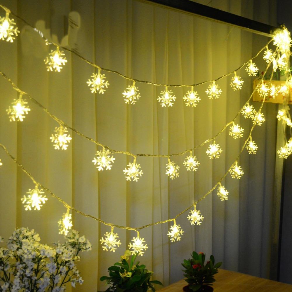 5m28pcs 220v Free Shipping warm white LED snow string Garland christmas lights for party wedding luminaria decoration lamps(China (Mainland))