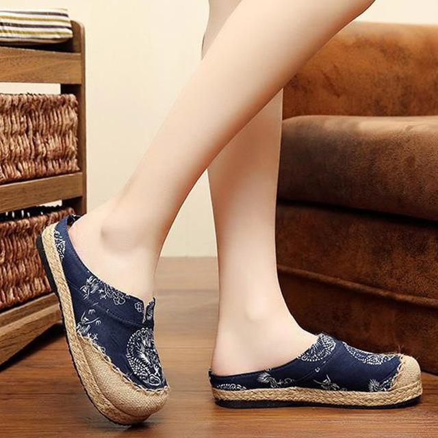 Белье вышитые тапочки старый Пекин Boho Хлопок холст ткань обувь национальная ручной ...