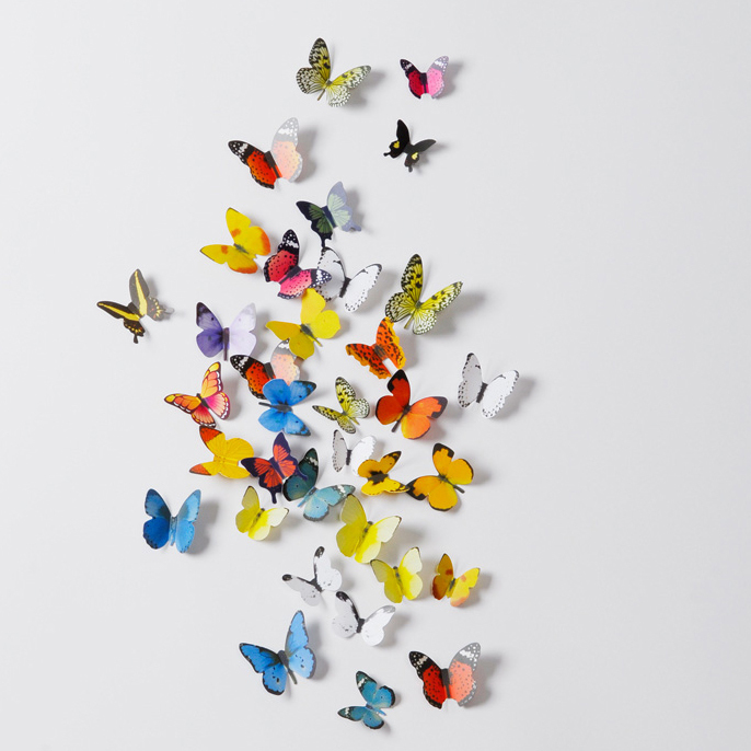 19pcs 3D Multi-color Plastic Butterfly Removable Decals for Living Room Bedroom Window Home Decor Wedding Art DIY Wall Stickers(China (Mainland))