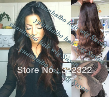 """Sale !! best quality cheap price18""""#1bT#4 two tone loose wavy virgin brazilian ombre u part human hair wig free shipping"""