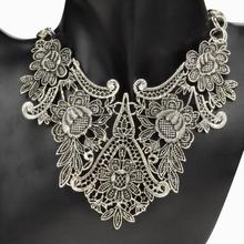 Vintage Tibet Silver Plated Flower Hollowed Statement Bib Chain Pendant Statement  Necklace for Woman Choker Necklace(China (Mainland))