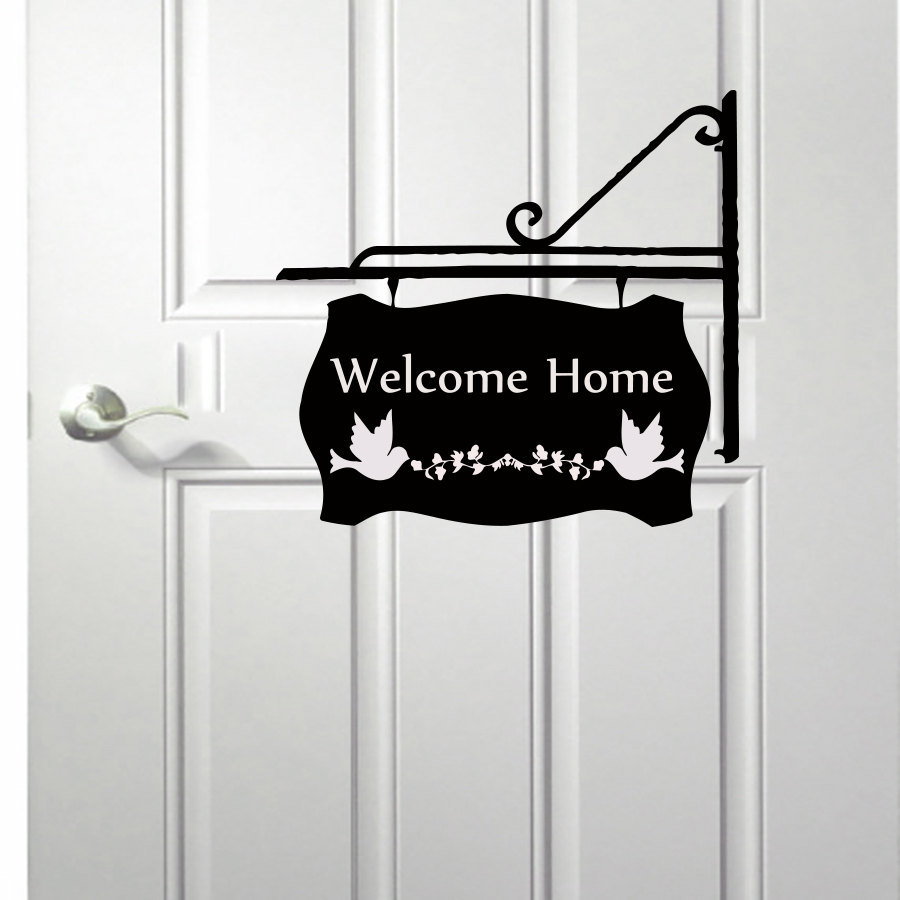 Welcome Home Two Pigeon Door Sign Wall Decal Vinyl Hollow Out Home Decor Black Wall Sticker(China (Mainland))