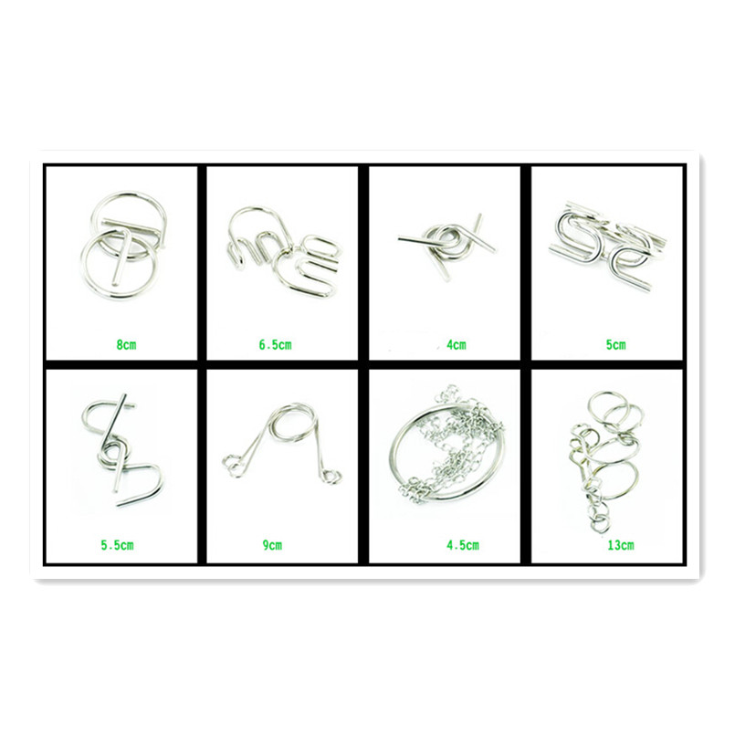 Hot 20PCS/Set Gift IQ Brain Teaser Disentanglement Metal Wire Puzzles Game Toy Solution for Adults/Children(China (Mainland))