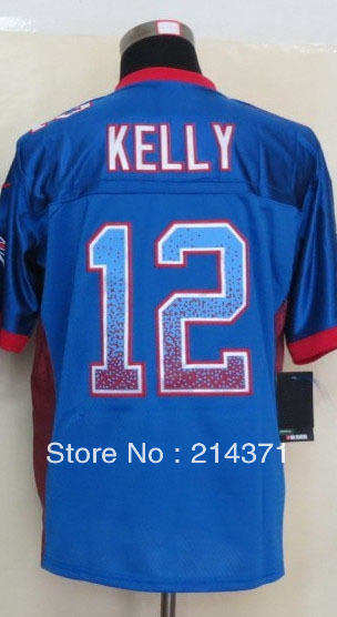 High Quality Wholesale 12 Jim Kelly Men's Drift Fashion Blue Elite Football Jersey size: 40-56(China (Mainland))