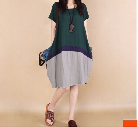 spring summer new linen clothes Korean hit color stitching cotton dress women clothing casual commoner large size loose dress