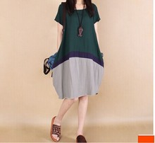 Buy spring summer new linen clothes Korean hit color stitching cotton dress women clothing casual commoner large size loose dress for $15.40 in AliExpress store