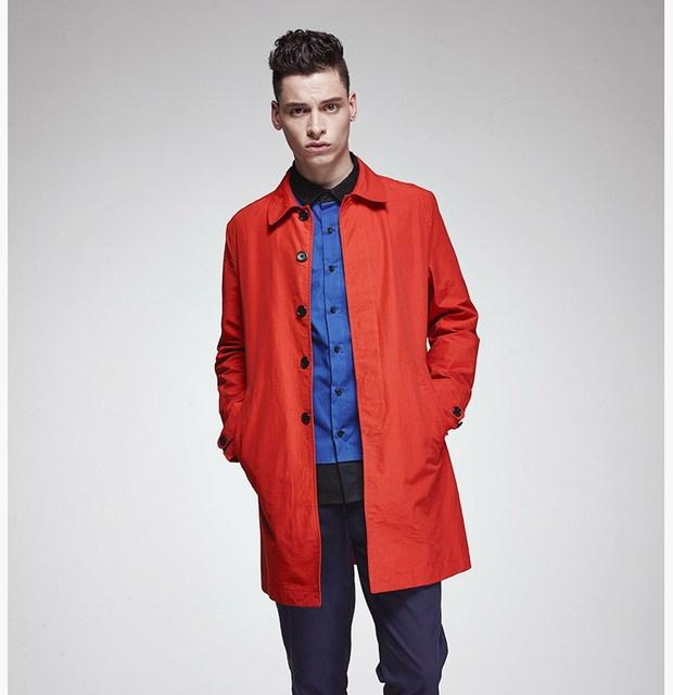 Мужская марка длинные плащи мужчины оранжевый твердые тонкий джемпер куртки Большой ...