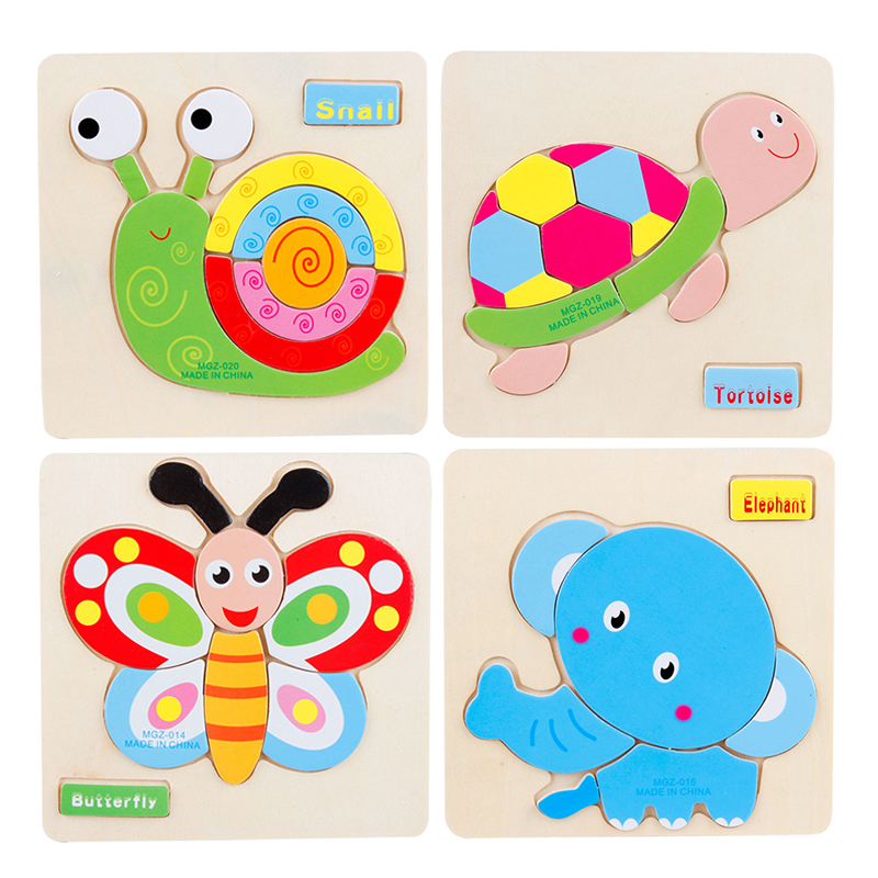 Kids Baby 3D Wooden Cartoon Animal Traffic Puzzles Toys for Children Educational Early Learning Game Jigsaw Christmas Fun Gifts(China (Mainland))