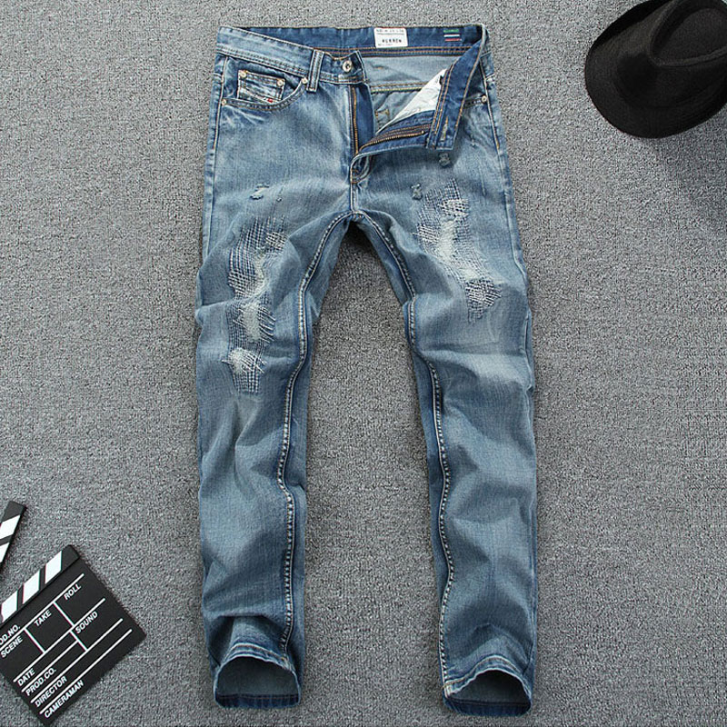 Nostalgia Retro Printed Jeans Men Casual Pants Italian Famous Brand Mens Jeans Light Blue Color Denim Ripped Jeans,Size 30-40Одежда и ак�е��уары<br><br><br>Aliexpress