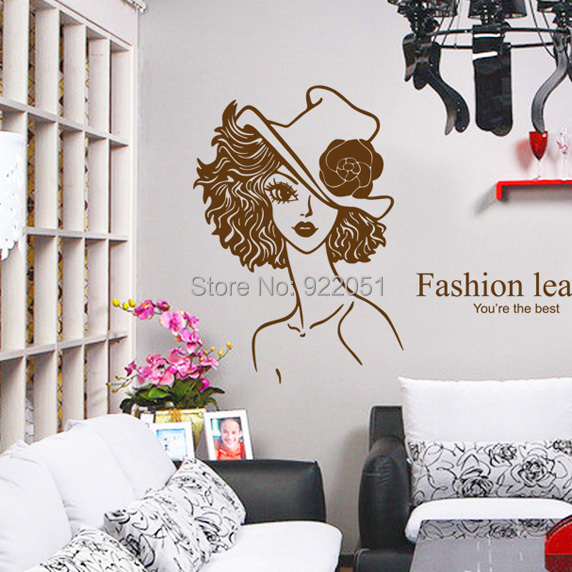 Ay7078 hair salon wall decals wall sticker home decor diy adhesive art mural - Decoration mural salon ...