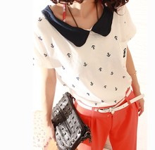 2014 Rushed Direct Selling Regular Sailor Collar Cotton Waffle Three Quarter Hole Sailor Collar Preppy Style Female T-shirt 1376(China (Mainland))