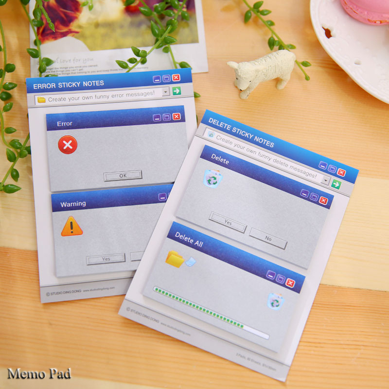 Creative System hint Delete/Error Paper Memo Pad/ Sticker Post Sticky Notes Notepad N Times message Wall stickers Fridge Magnets(China (Mainland))