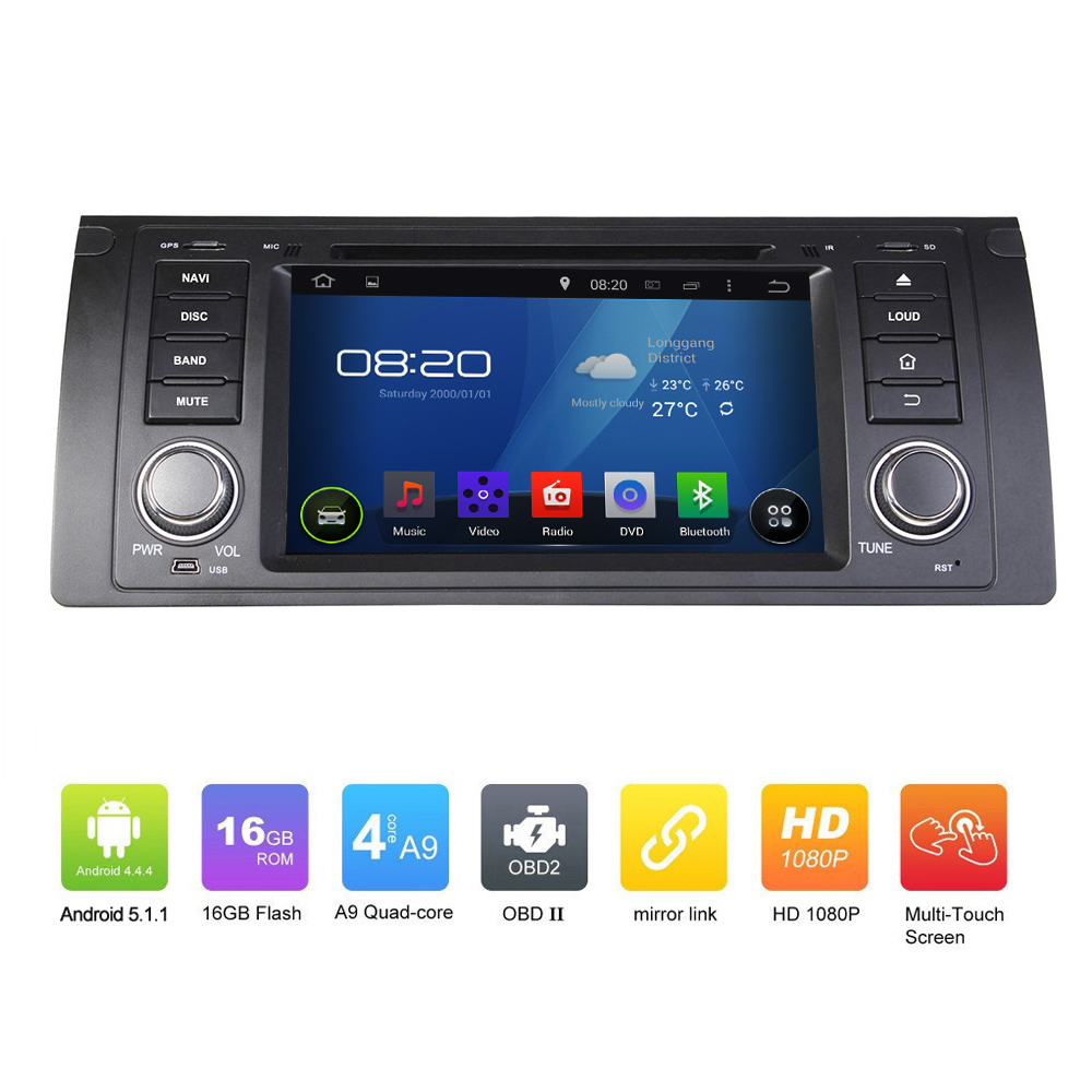 7 inch New Car Electronic auto radio audio 2 din android 5.1.1 car dvd player stereo GPS Navigation For BMW M5 E39 X5 E53(China (Mainland))