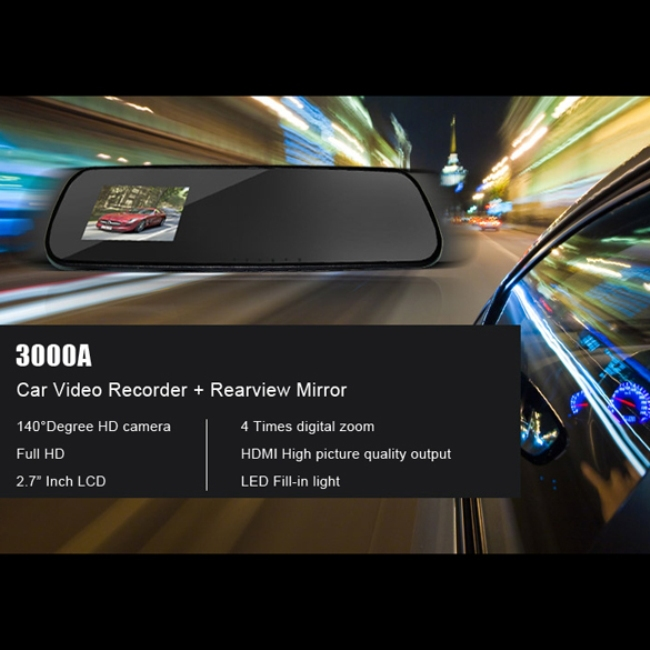 Free Shipping 2.7 Inch HD Dash Cam Video Recorder Rearview Mirror Car Camera DVR #gib(China (Mainland))