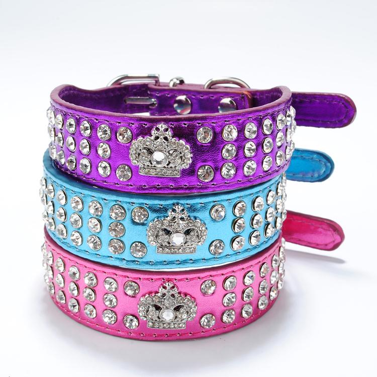 Crown Leather Dog Collars
