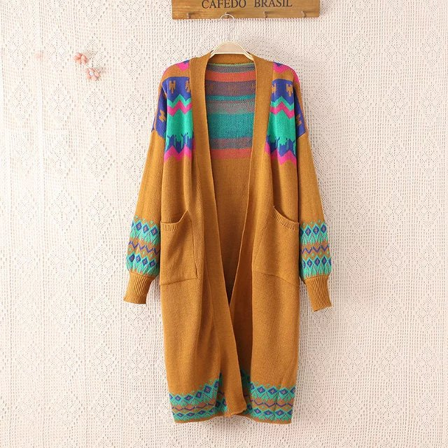 women patchwork plus size font b sweater b font coats long loose autumn knitted women font