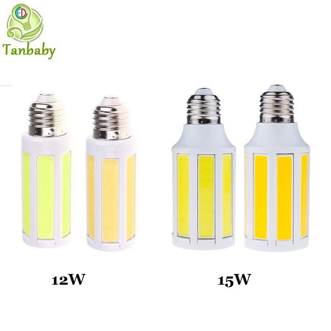 Tanbaby COB led corn bulb 12W 15W Warm/White led light lamp E27 B22 E14 led cob light AC220V/AC110V indoor home luminous lights(China (Mainland))