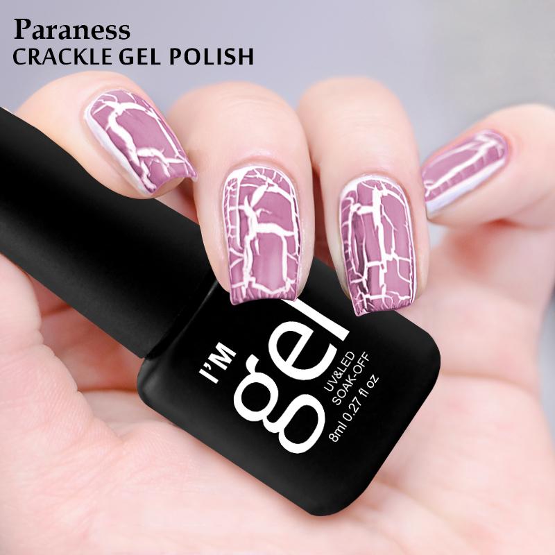 Paraness Professional 8ml Nail Gel Varnish Crackle Shatter 12 Colorful Lucky Gel Nail Polish Pigment Crack Nail Polish(China (Mainland))