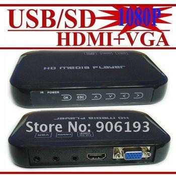 Full HD 1080P USB External HDD Media Player with HDMI VGA SD support MKV H.264 RMVB WMV Brand New- FREE SHIPPING 3pcs/lot